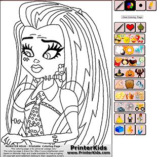 Monster High Online Coloring Frankie Stein Demo 1