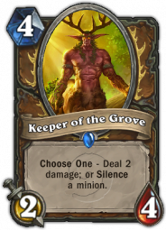 Keeper of the Groove, a Druid class minion card with selection options