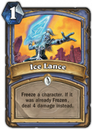Ice Lance, a Mage class spell card that can freeze a character or damage an already frozen character