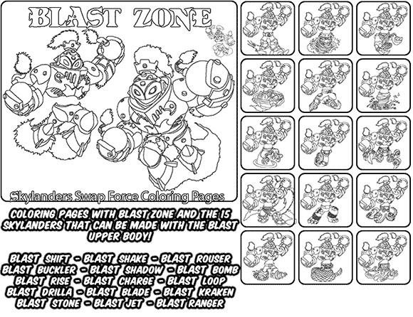 Printable coloring page for kids with Skylanders Swap Force BLAST ZONE and all the different Skylander combinations that can be made with the BLAST ZONE Skylander parts