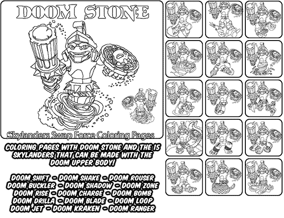 Printable coloring page for kids with Skylanders Swap Force DOOM STONE and all the different Skylander combinations that can be made with the DOOM STONE Skylander parts