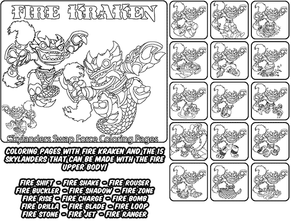 Printable coloring page for kids with Skylanders Swap Force FIRE KRAKEN and all the different Skylander combinations that can be made with the FIRE KRAKEN Skylander parts