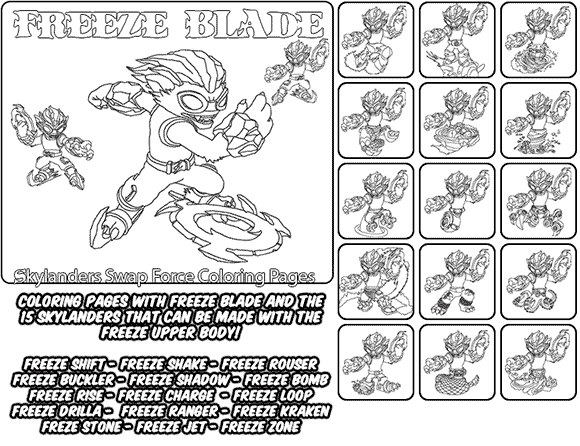 Printable coloring page for kids with Skylanders Swap Force FREEZE BLADE and all the different Skylander combinations that can be made with the FREEZE BLADE Skylander parts