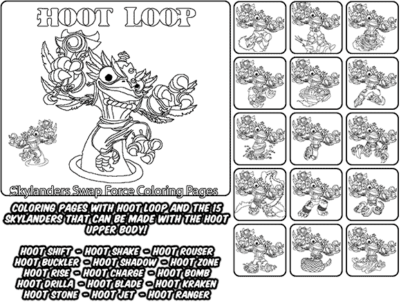 Printable coloring page for kids with Skylanders Swap Force HOOT LOOP and all the different Skylander combinations that can be made with the HOOT LOOP Skylander parts