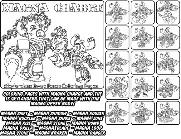 Printable coloring page for kids with Skylanders Swap Force MAGNA CHARGE and all the different Skylander combinations that can be made with the MAGNA CHARGE Skylander parts