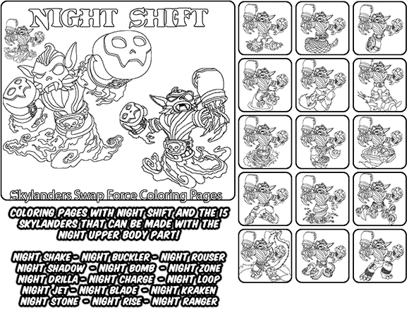 Printable coloring page for kids with Skylanders Swap Force NIGHT SHIFT and all the different Skylander combinations that can be made with the NIGHT SHIFT Skylander parts