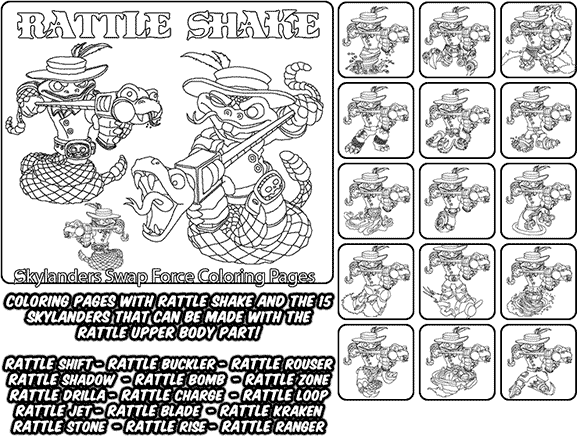 Printable coloring page for kids with Skylanders Swap Force RATTLE SHAKE and all the different Skylander combinations that can be made with the RATTLE SHAKE Skylander parts