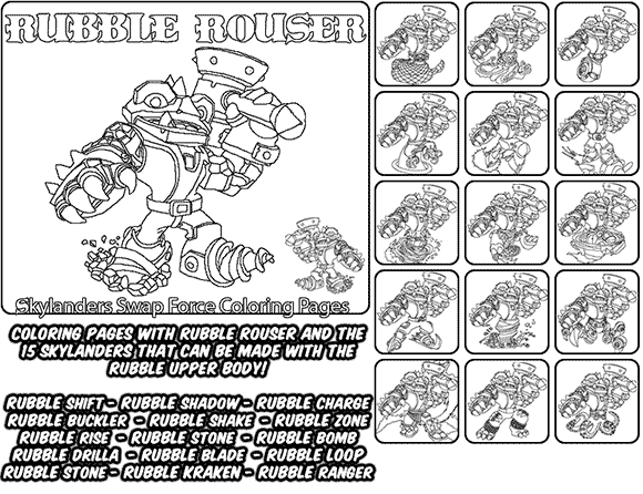 Printable coloring page for kids with Skylanders Swap Force RUBBLE ROUSER and all the different Skylander combinations that can be made with the RUBBLE ROUSER Skylander parts