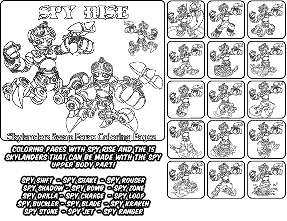 Printable coloring page for kids with Skylanders Swap Force SPY RISE and all the different Skylander combinations that can be made with the SPY RISE Skylander parts