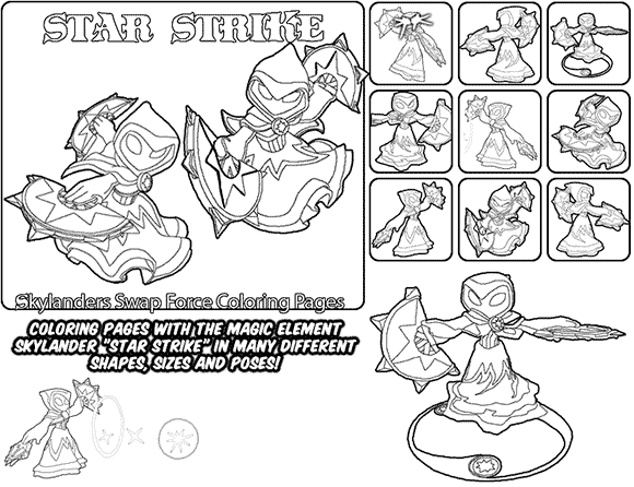 Printable coloring page for kids with Skylanders Swap Force STAR STRIKE