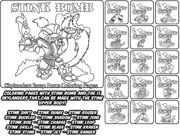 Printable coloring page for kids with Skylanders Swap Force STINK BOMB and all the different Skylander combinations that can be made with the STINK BOMB Skylander parts