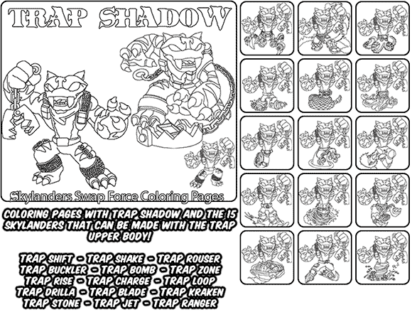 Printable coloring page for kids with Skylanders Swap Force TRAP SHADOW and all the different Skylander combinations that can be made with the TRAP SHADOW Skylander parts