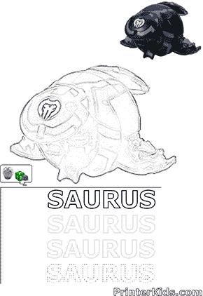 Saurus Bakugan Ball Coloring and Spelling Page