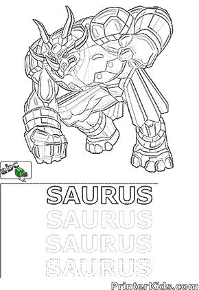 Saurus Bakugan Coloring and Spelling Page