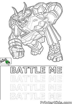 Saurus Bakugan -BATTLE ME- Coloring and Spelling Page