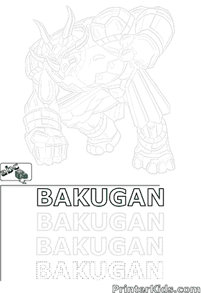 Printable Saurus Bakugan Page for Drawing