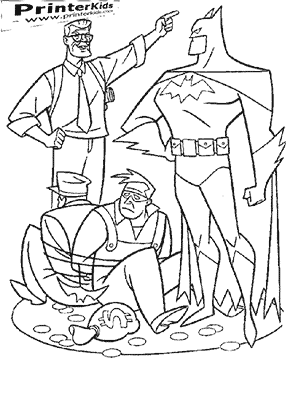 Bank Robbers Tied Up - Batman coloring page