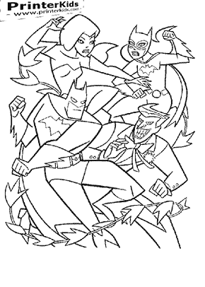 Batman and Batgirl Vs. The Joker and Poison Ivy - Batman coloring page