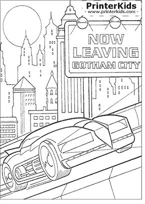 Batmobile Leaving Gotham City - Batman coloring page