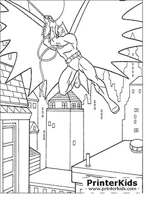 Batman Swinging In The Air - Batman coloring page