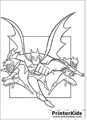 Batman, Robing and Batgirl - Batman coloring page