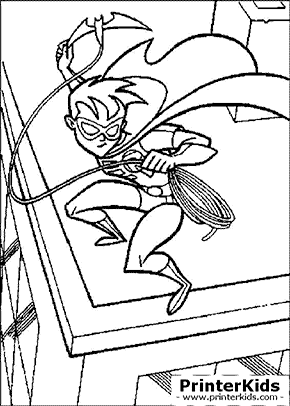 Robin with Rope - Batman coloring page