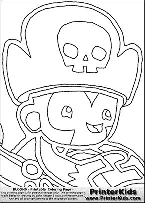 Bloons TD5 - Monkey Buccaneer #5 - Coloring Page