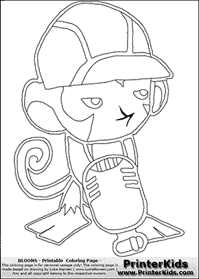Bloons TD5 - Monkey Engineer #1 - Coloring Page