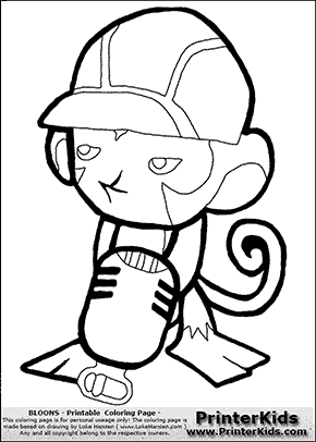 Bloons TD5 - Monkey Engineer #2 - Coloring Page