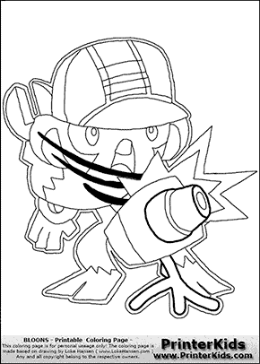 Bloons TD5 - Monkey Engineer #3 - Coloring Page