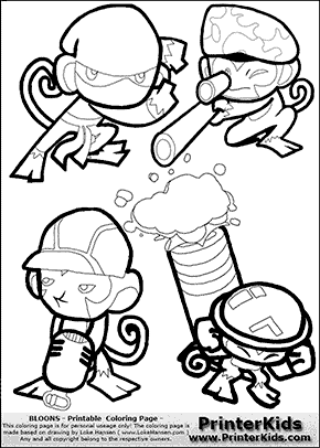 Bloons TD5 - Monkey Tower Group #1 - Coloring Page