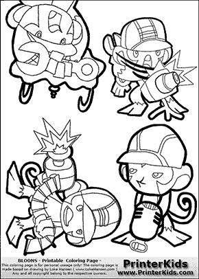 Bloons TD5 - Monkey Tower Group #2 - Coloring Page