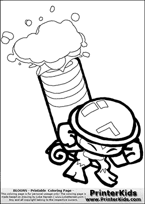 Bloons TD5 - Mortar Tower #2 - Coloring Page