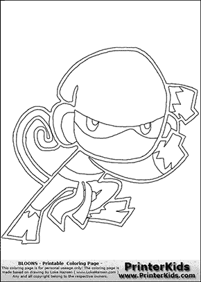 Bloons TD5 - Ninja Monkey #1 - Coloring Page