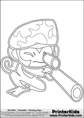 Bloons TD5 - Sniper Monkey #1 - Coloring Page