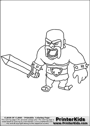 Clash Of Clans - Barbarian #1 - Coloring Page