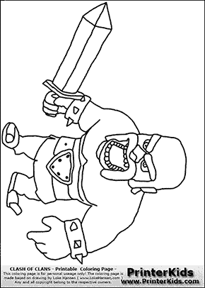 Clash Of Clans - Barbarian #2 - Coloring Page