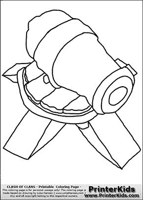 Clash Of Clans - Cannon - Coloring Page