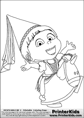 Despicable Me 2 - Agnes and Unicorn #1 - Coloring Page