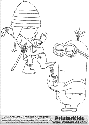Despicable Me 2 - Edith and Minion #1 Combat Ready - Coloring Page