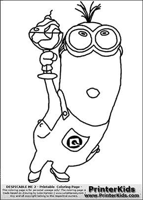 Despicable Me 2 - Minion #11 Minion with Ice Cream In Glass - Coloring Page