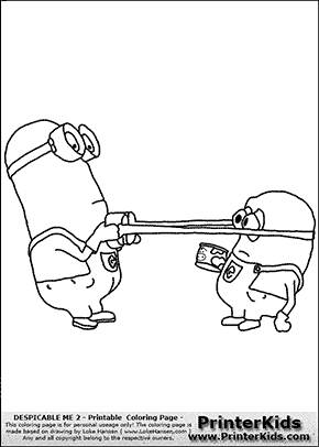 Despicable Me 2 - Minions #19 Cruel Slapping with Glasses - Coloring Page