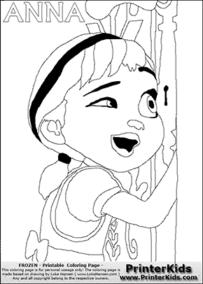DISNEY FROZEN - ANNA ( looking through a keyhole ) - Coloring Page 3