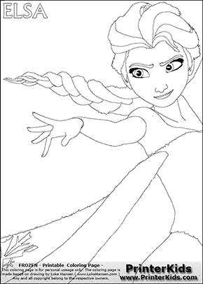 DISNEY FROZEN - ELSA (Reaching Out)- Coloring Page 2