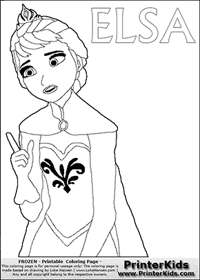 DISNEY FROZEN - ELSA (Pointing)- Coloring Page 13