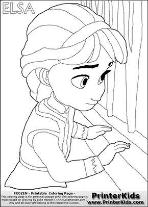 DISNEY FROZEN - Young Elsa By The Window - Coloring Page 16