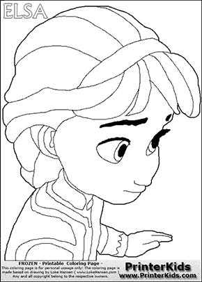 DISNEY FROZEN - Young Elsa Close Up - Coloring Page 19