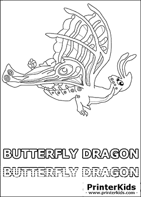 Dragonvale - Butterfly Dragon - Adult - Coloring Page