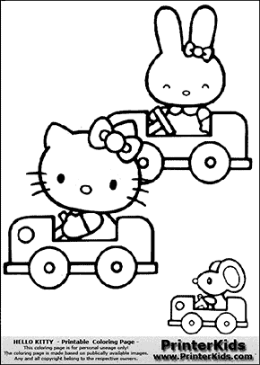 Hello Kitty - Driving Cars - Coloring Page