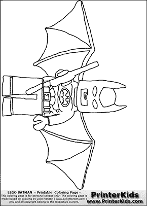 Lego Batman - Wings Wide - Coloring Page